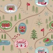 Lewis & Irene North Pole - 5500 - Pine Woods Scenic Print on Sand - C13.2 - Cotton Fabric